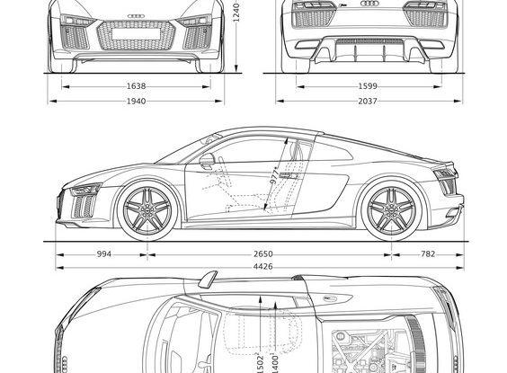 Audi R8 V10 plus coupé dimensioni