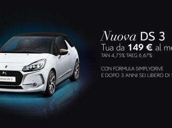 Nuova DS 3 con finanziamento da €149 al mese