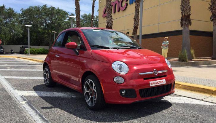 Fiat 500, prova su strada, vista anteriore laterale destra.