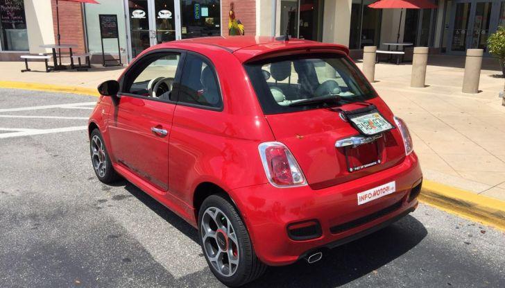 Fiat 500, prova su strada, 3/4 laterale posteriore.
