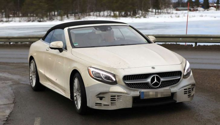 Mercedes Classe S Cabrio restyling, immagine spia, frontale laterale