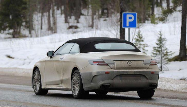 Mercedes Classe S Cabrio restyling, foto spia, 3/4 posteriore laterale.