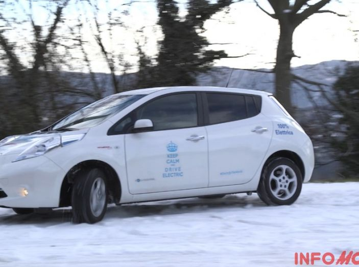 Nissan Leaf, prestazione sulla neve.