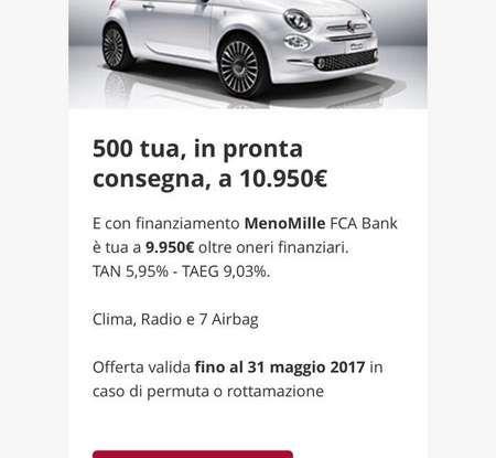 Fiat 500 in affitto con canoni da 199 per 1.2 POP a 276 euro per 500 Riva con Fiat Be Free - Foto 4 di 11