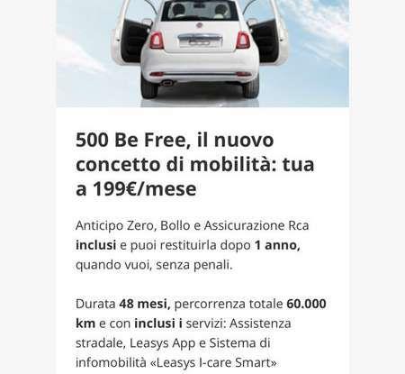 Fiat 500 in affitto con canoni da 199 per 1.2 POP a 276 euro per 500 Riva con Fiat Be Free - Foto 5 di 11