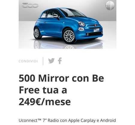 Fiat 500 in affitto con canoni da 199 per 1.2 POP a 276 euro per 500 Riva con Fiat Be Free - Foto 9 di 11