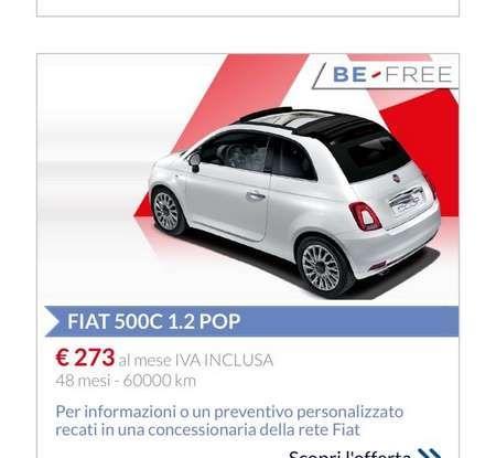 Fiat 500 in affitto con canoni da 199 per 1.2 POP a 276 euro per 500 Riva con Fiat Be Free - Foto 10 di 11