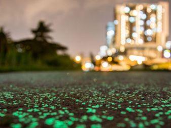 A Singapore l'asfalto si illumina di notte in maniera naturale