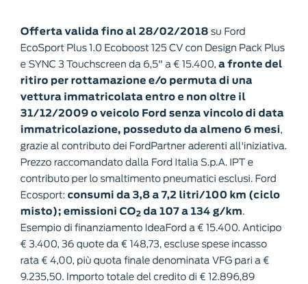 Nuova Ford Ecosport Plus a rate da 149 euro al mese - Foto 12 di 14