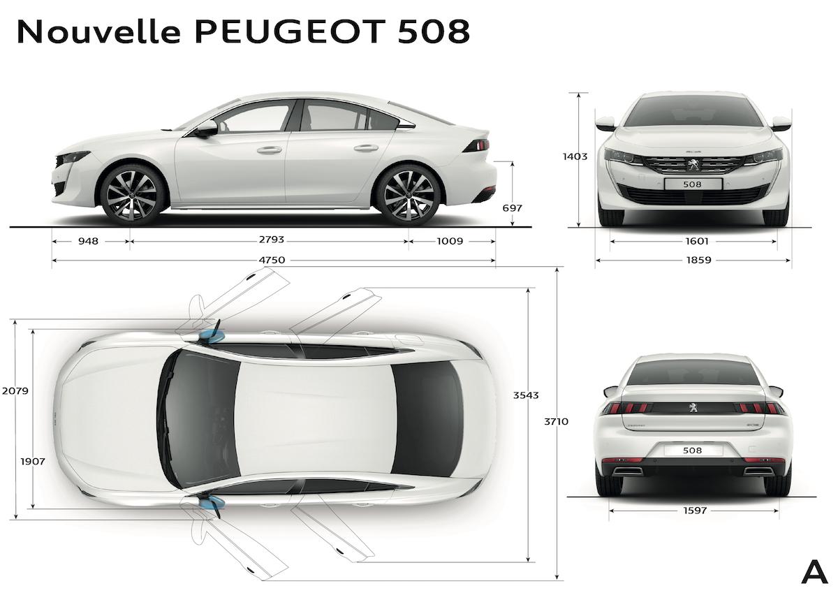 Peugeot 508 2018, dimensioni