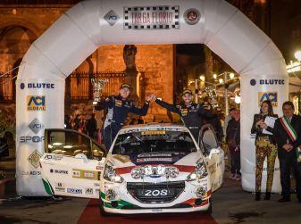 Damiano De Tommaso (junior team Peugeot 208 R2B) soddisfattissimo del primo posto al Targa Florio