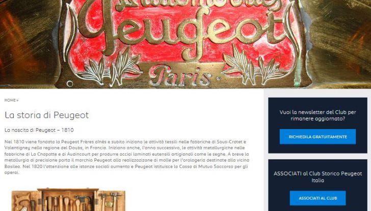 Nuovo portale WEB per i 20 anni  del Club Storico Peugeot Italia - Foto 2 di 3