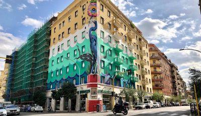 Roma, Il murales di Iena Cruz pulisce l'aria grazie a vernice AirLite