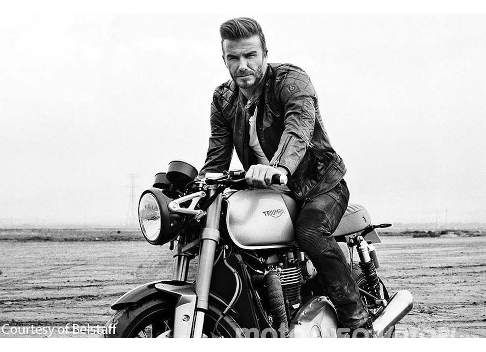 Nuova Triumph Bonneville 1100 sul set di Outlaws con David Beckham
