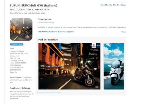 Suzuki Burgman 650 esordisce sull'Apple Store