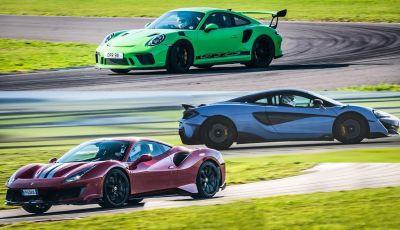 VIDEO: Ferrari 488 Pista contro Porsche GT3 RS e McLaren 600LT