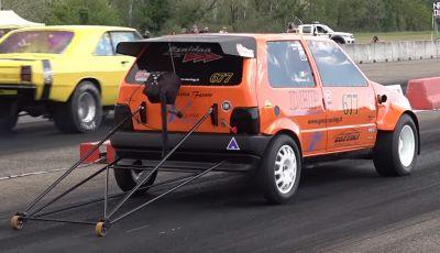 La Fiat Uno da 600 CV usata per il drag racing