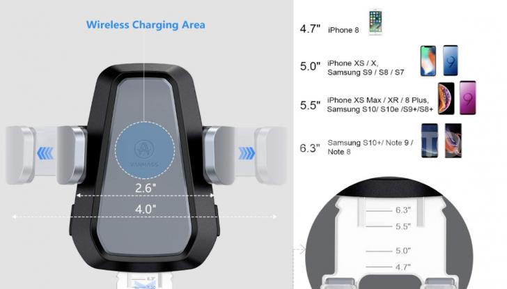 Vanmass Wireless Car Charger Mount: il supporto da auto che ricarica lo smartphone - Foto 2 di 5