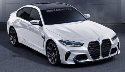 Nuova BMW M3 2020: la linea del doppio rene in un rendering