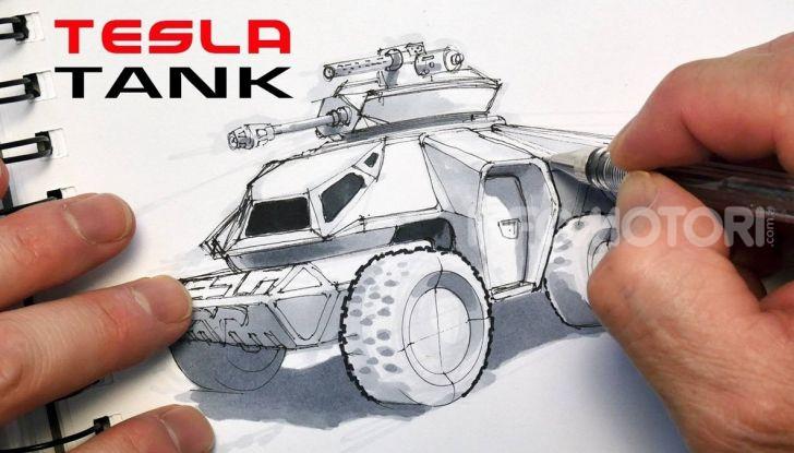 Il disegno di un carro armato Tesla elettrico