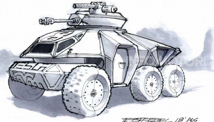 La concept art di un carro armato Tesla di Eric Strebel