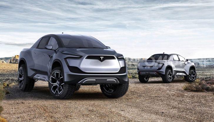 Vista frontale e posteriore del pickup Tesla