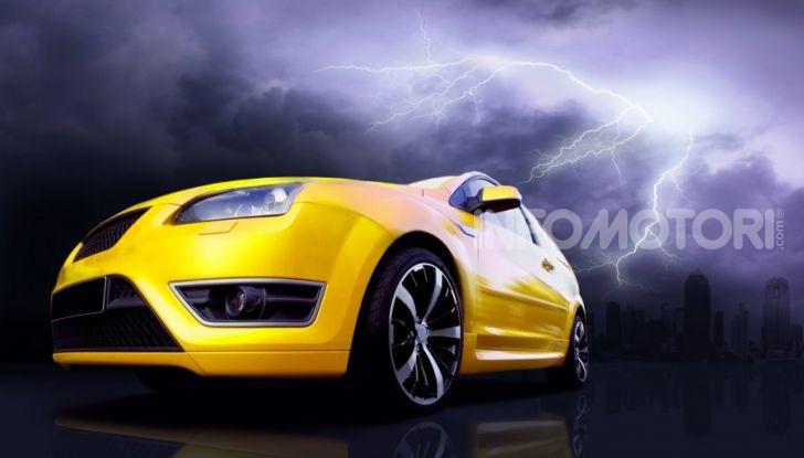 Wallpaper di un'auto durante un temporale