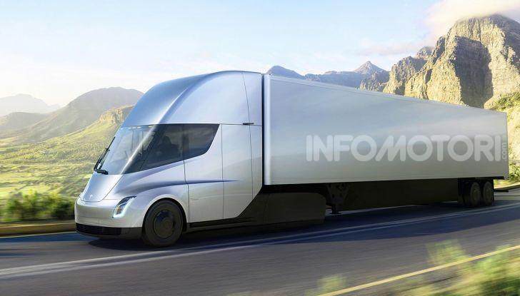 Rendering di un camion con motrice Tesla