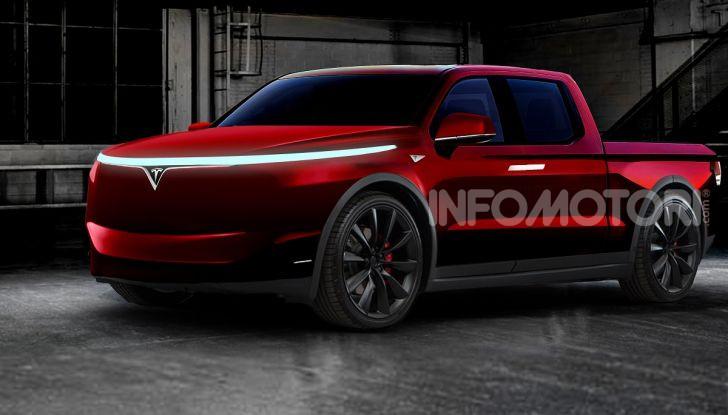 Prototipo di un pickup Tesla rosso