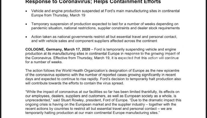 Dopo i Concessionari Auto chiudono anche le fabbriche per il Coronavirus! - Foto 2 di 10