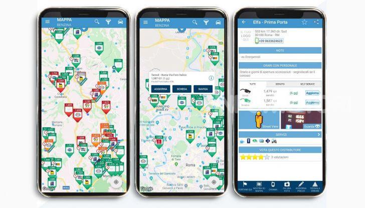 Prezzi benzina app navigazione 2020