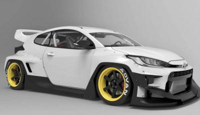 Toyota Yaris diventa una macchina da corsa col kit Rocket Bunny