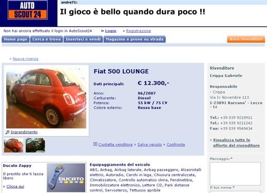 Focus: Vendo Fiat nuova 500