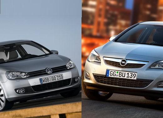 Volkswagen Golf contro Opel Astra è il classico Derby di stagione fra le due bestseller del segmento delle medie