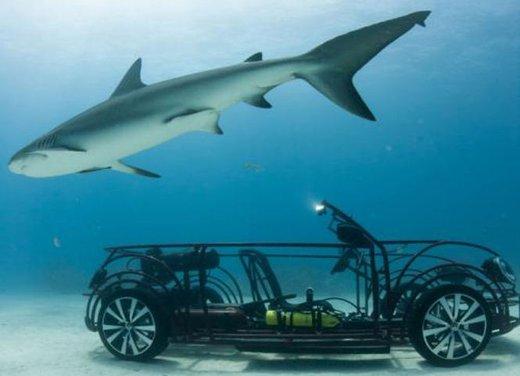 Volkswagen Maggiolino Cabrio in mezzo agli squali