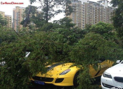 Ferrari 599 GTO schiacciata da un albero in Cina - Foto 3 di 6