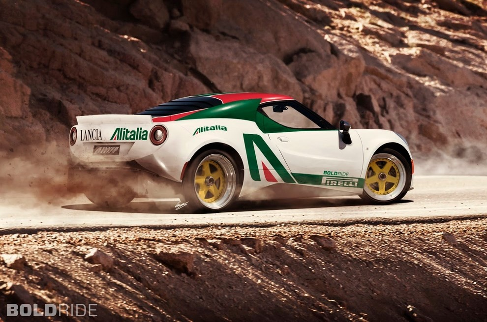 Lancia Stratos il rendering su base Alfa Romeo 4C - Foto 3 di 4